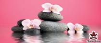 фототапет панел с прекрасни цветя и спа камъни на розов фон