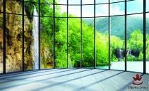 фототапети  панорамен прозорец с водопад