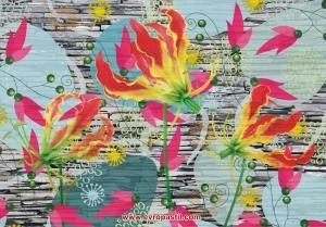 фото-тапет цикламени цветя на стена от камък