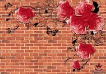 фототапет с рози на тухлен фон