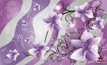 фототапети на хартия с красиви арт цветя в лилаво