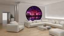 фототапет часовник с мост в пурпурно