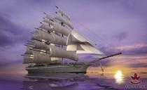 фототапети  кораб в лилаво