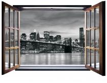 фототапет  прозорец с бруклинския мост