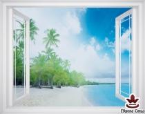 фототапет прозорец прекрасна гледка на крайбрежие с палми