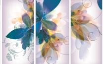 фототапет с листа в синьо и лилаво на панели
