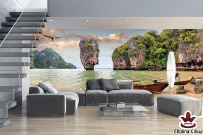 фототапети макси прекрасна лагуна с море и лодки