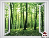 фототапет прозорец гледка на зелена гора