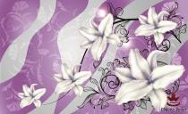фототапети арт цветя в сиво и лилаво