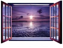 фототапет  прозорец залез в лилаво