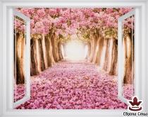 фототапет прозорец розова гора