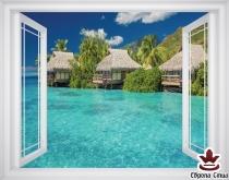 фототапет прозорец изглед на море и Хавайски вили
