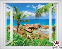 фототапет прозорец прекрасен изглед на море и палми