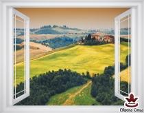 фототапет прозорец гледка на Тоскана