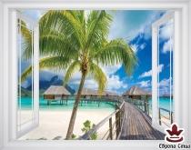 фототапет прозорец гледка на Бора Бора море