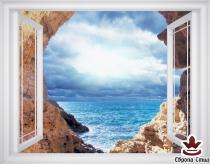 фототапет прозорец красив изглед на море и скали