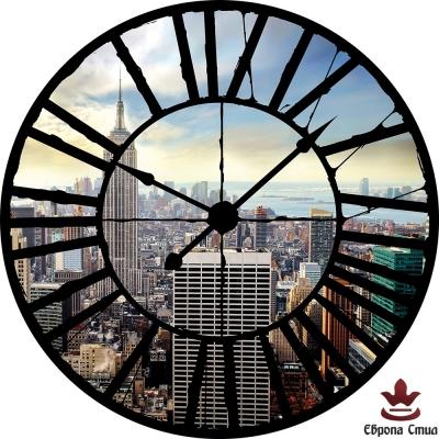 Фототапети часовник с изглед към небостъргачи в Ню Йорк