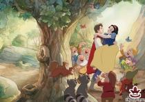 Фототапет със Снежанка,принца и седемте джуджета до дърво
