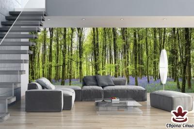 Фототапети макси зелена гора с лилави цветя