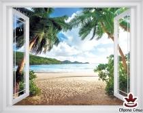 фототапет прозорец гледка на море и палми