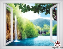 фототапет прозорец красив изглед на водопад