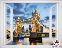 фототапет прозорец излед на моста Тауър Бридж в Лондон